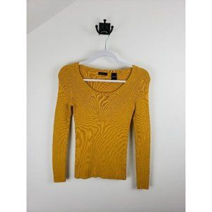 MODA International Ribbed Fitted 100% Cotton Lightweight Yellow Sweater Small